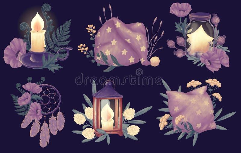 Sistema del sueño de las buenas noches stock de ilustración