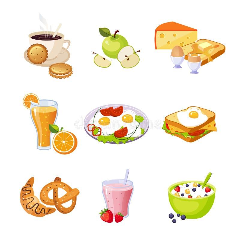 Sistema del surtido de la comida de desayuno de iconos stock de ilustración