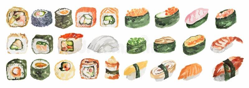Sistema del sushi de la acuarela stock de ilustración