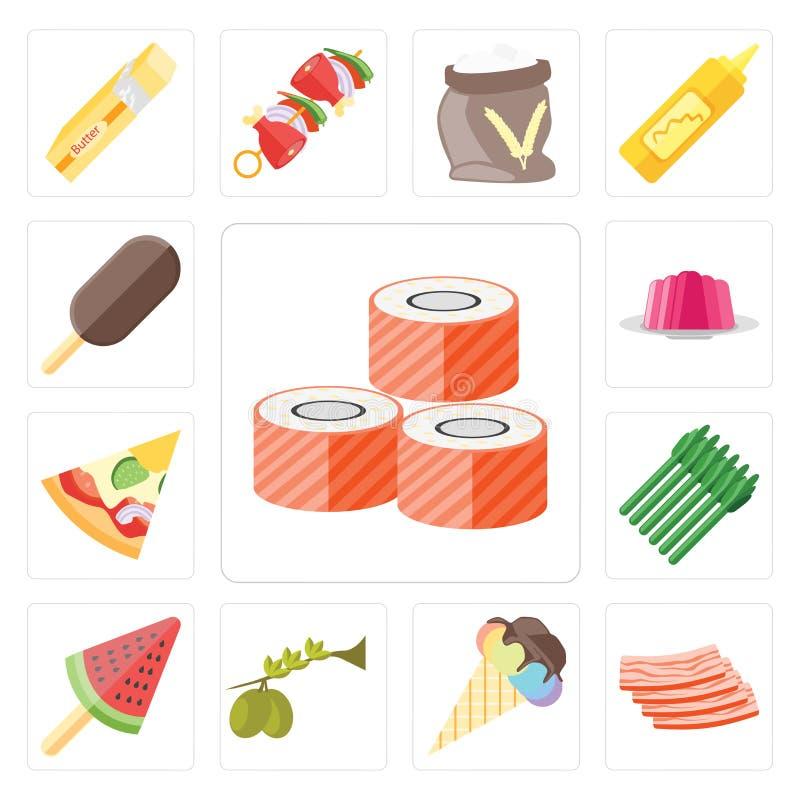 Sistema del sushi, tocino, helado, aceitunas, espárrago, pizza, jalea, ilustración del vector
