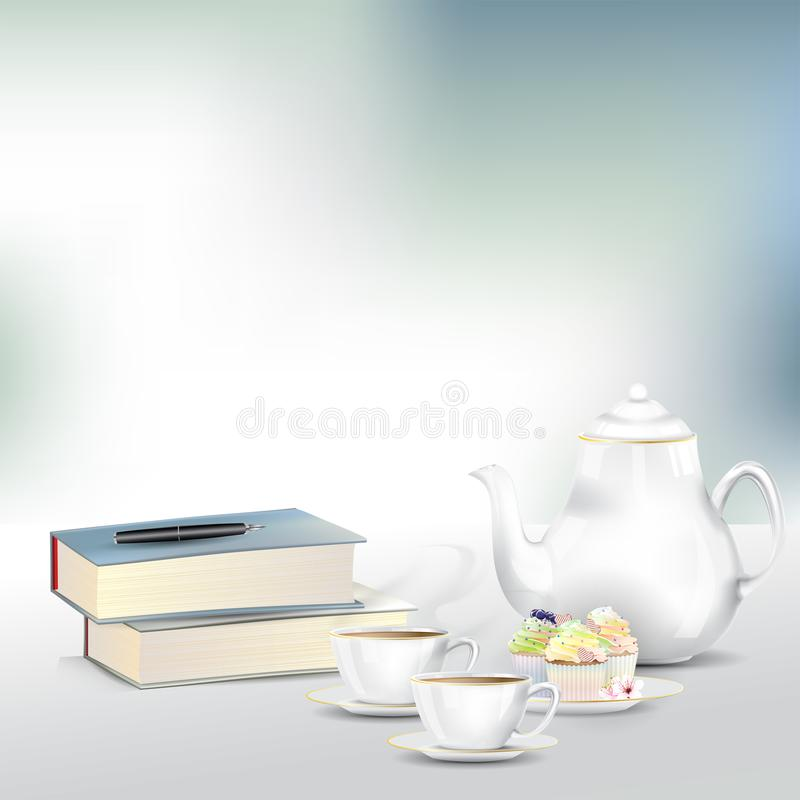 Sistema del té o de café de tarde con los libros imagen de archivo