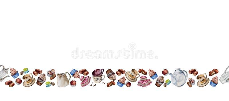Sistema del té y de café con las tazas, los granos de café y los dulces imagen de archivo