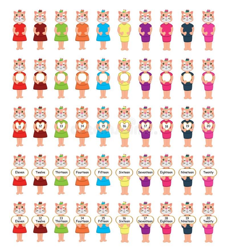 Sistema del tablero del número de la nariz del amor del gato libre illustration