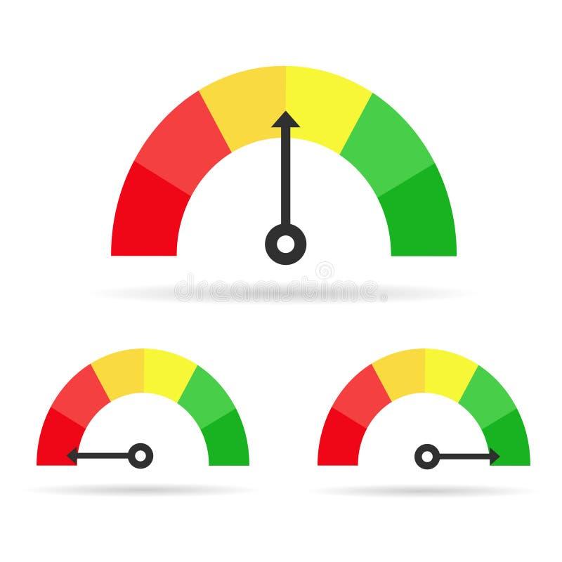 Sistema del tacómetro del color ilustración del vector