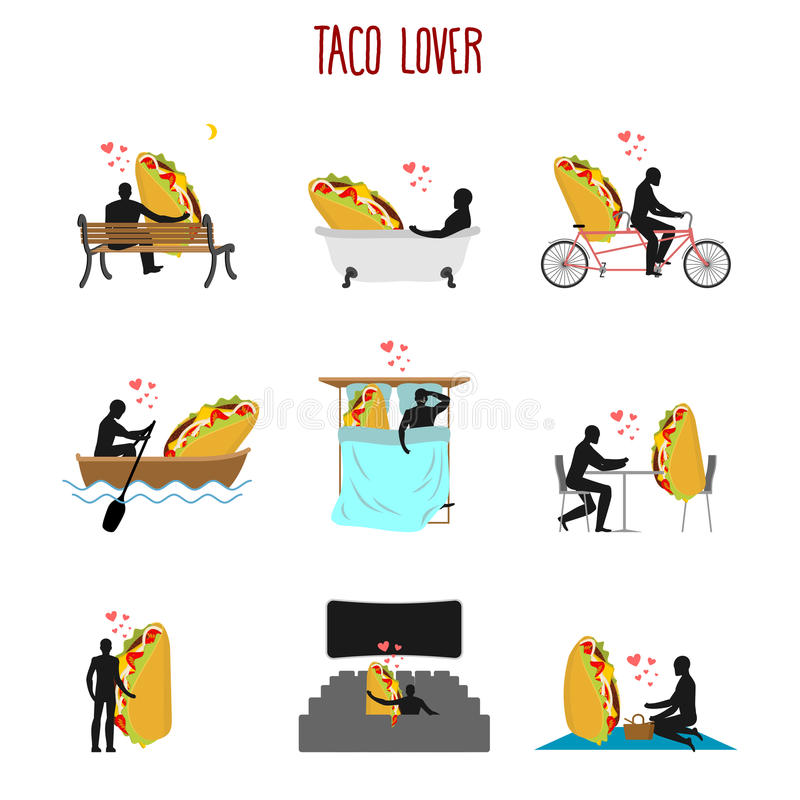 Sistema del taco del amante Amor a la colección mexicana de la comida Hombre y fastfoo ilustración del vector
