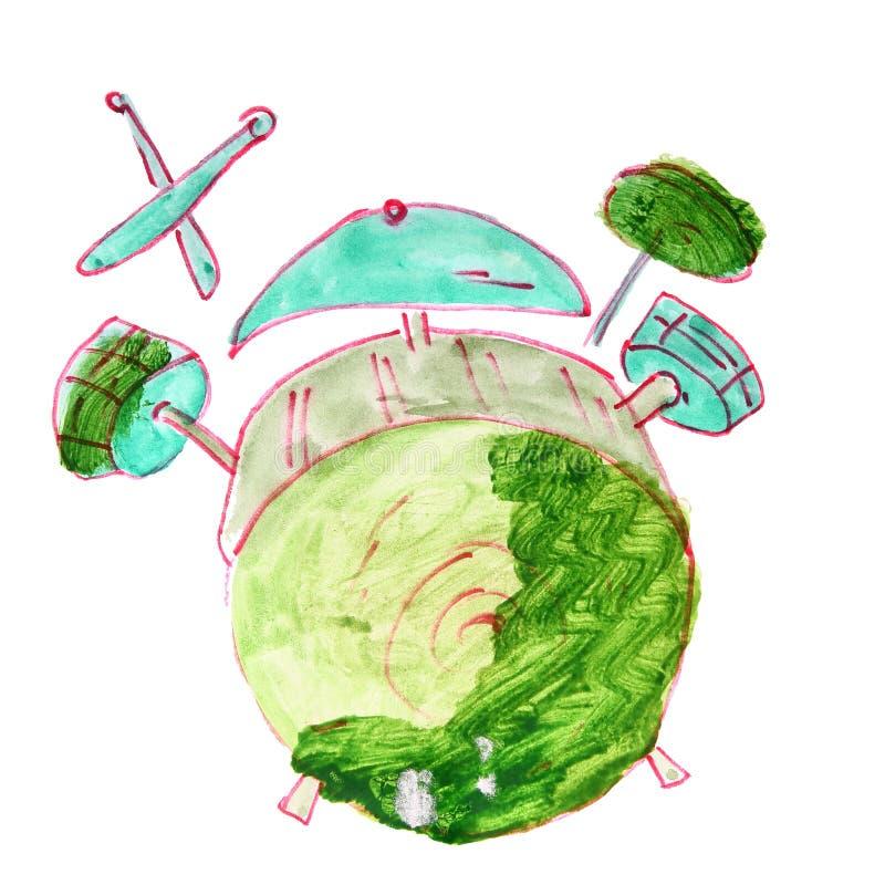 Sistema del tambor del dibujo de la historieta de la acuarela, aislado encendido stock de ilustración