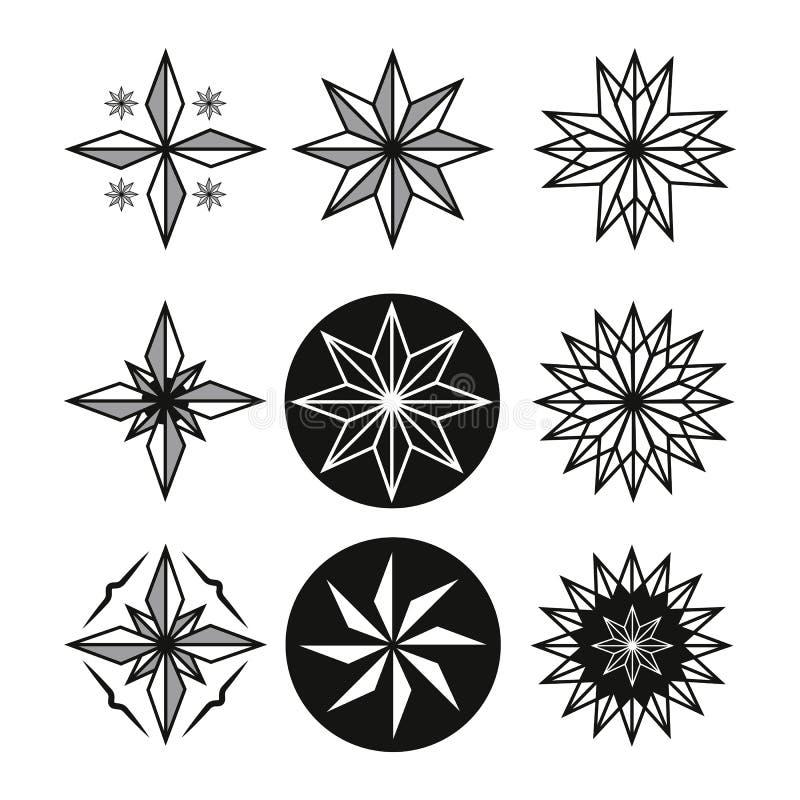 Sistema del tatuaje de la estrella ilustración del vector