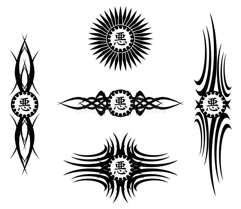 Sistema del tatuaje negro con malo del ideograma ilustración del vector