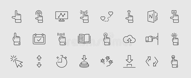 Sistema del tecleo de iconos relacionados del vector de los botones Contiene los iconos tales como el cursor, el ratón, la mano,  stock de ilustración