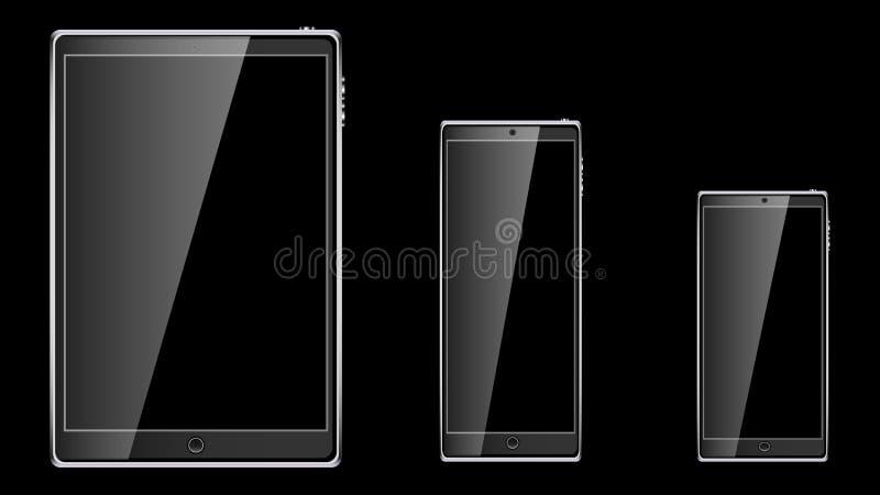 Sistema del teléfono móvil elegante del tacto móvil realista negro de la tableta, smartphone con la pantalla vacía en blanco bril ilustración del vector