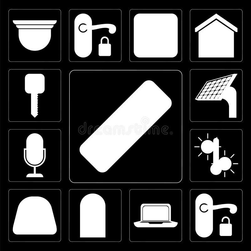 Sistema del telecontrol, manija, ordenador portátil, puerta, dial, temperatura, voz co stock de ilustración