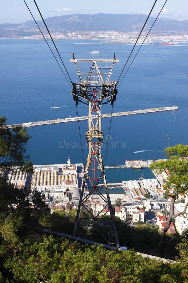 Sistema del teleférico de Gibraltar fotos de archivo libres de regalías