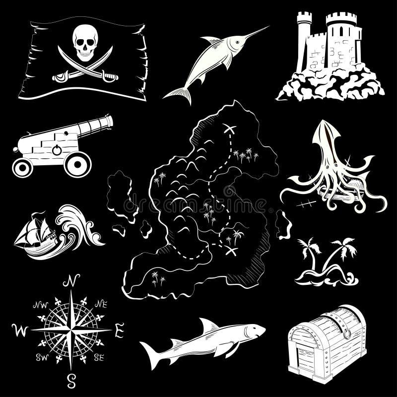 Sistema del tema del pirata ilustración del vector