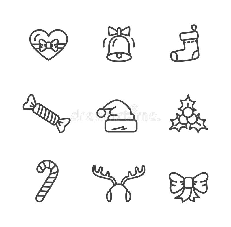 Sistema del tema del invierno del ejemplo del vector de los iconos stock de ilustración