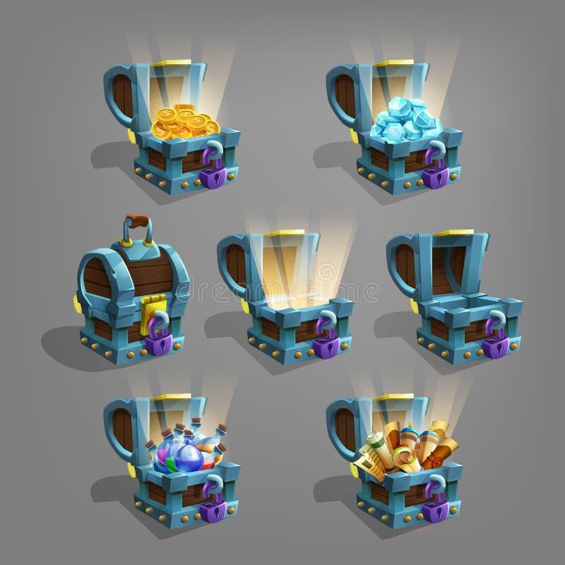 Sistema del tesoro en monedas, gemas, pociones y volutas de oro del pecho ilustración del vector