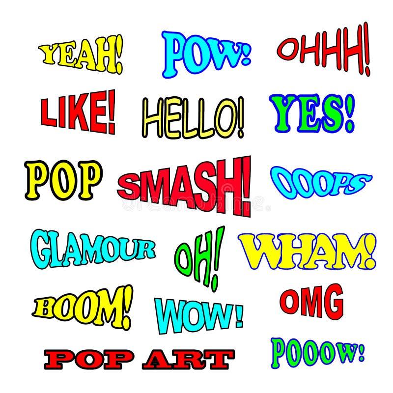 Sistema del texto del c?mic del arte pop con diversos emociones y texto stock de ilustración