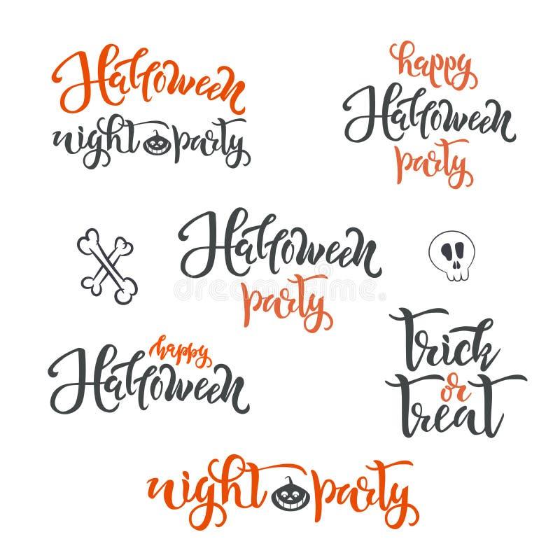 SISTEMA del texto del concepto del día de fiesta del feliz Halloween Caligrafía, diseño de letras Tipografía para las tarjetas de stock de ilustración