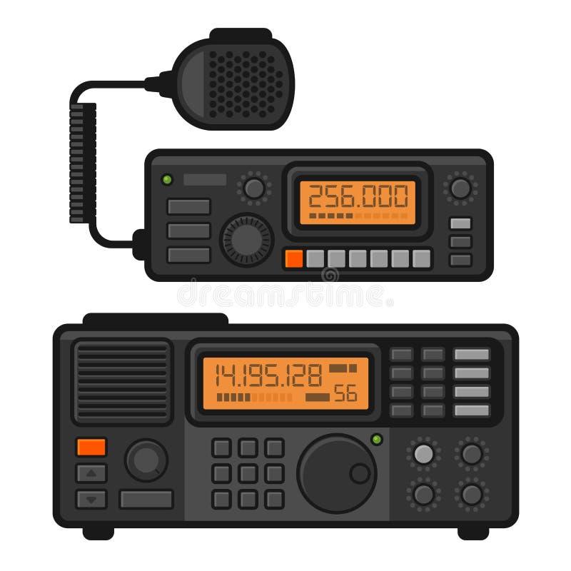Sistema del transmisor-receptor de la radio de coche policía Vector ilustración del vector