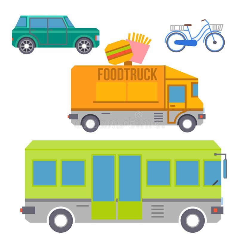 Sistema del transporte de la ciudad de iconos planos coloridos Vector ilustración del vector