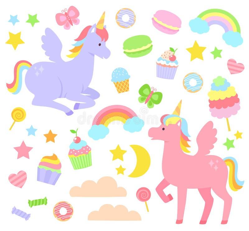 Sistema del unicornio stock de ilustración