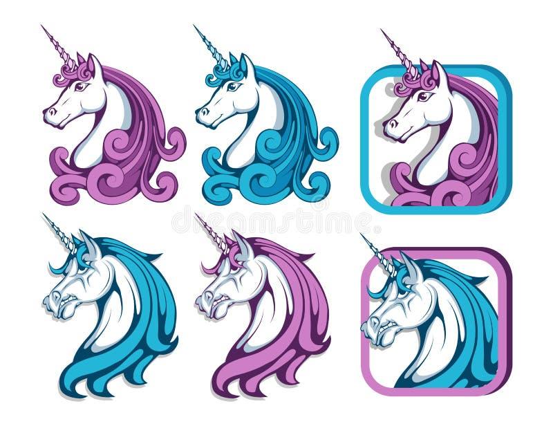 Sistema del unicornio Cabeza del unicornio de la historieta Animal mágico libre illustration