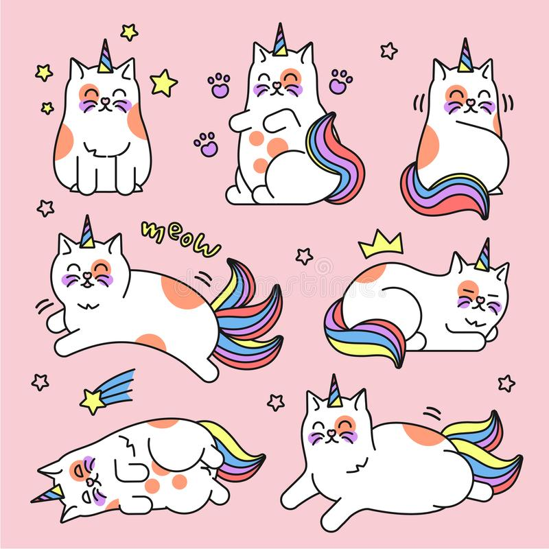 Sistema del unicornio del gato ilustración del vector
