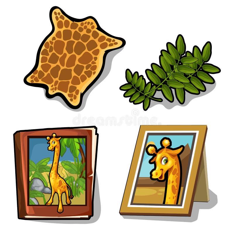 Sistema del vector aislado del artículo cuatro en tema de la jirafa ilustración del vector
