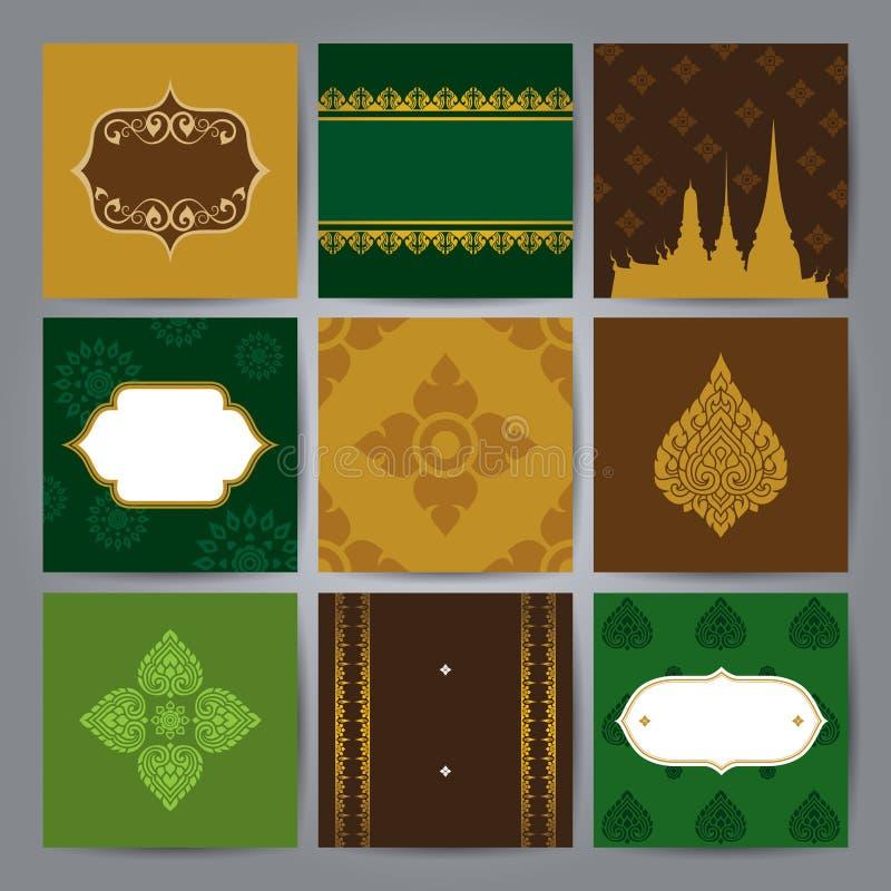 Sistema del vector asiático del diseño del arte tradicional ilustración del vector