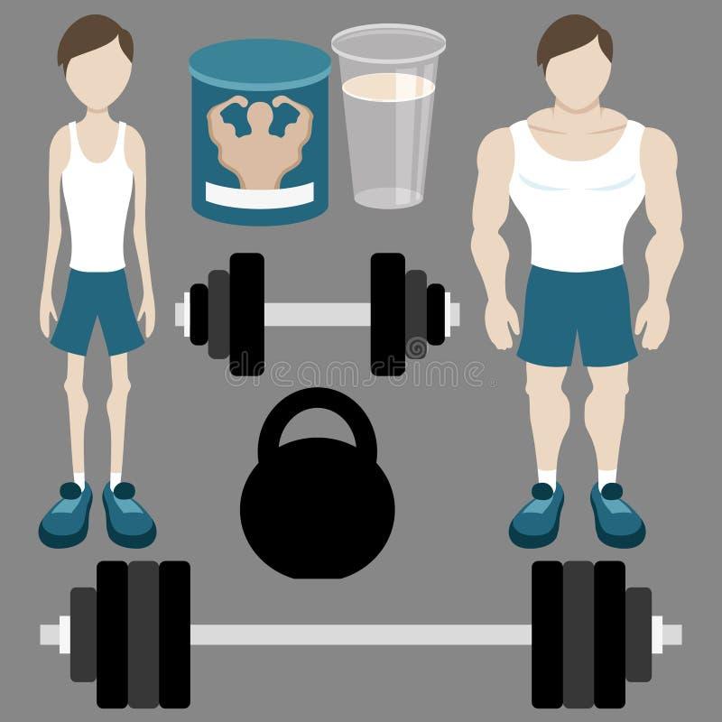 Sistema del vector bodybuilding ilustración del vector