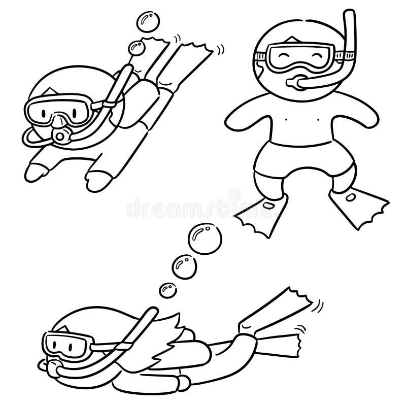 Sistema del vector del buceador stock de ilustración