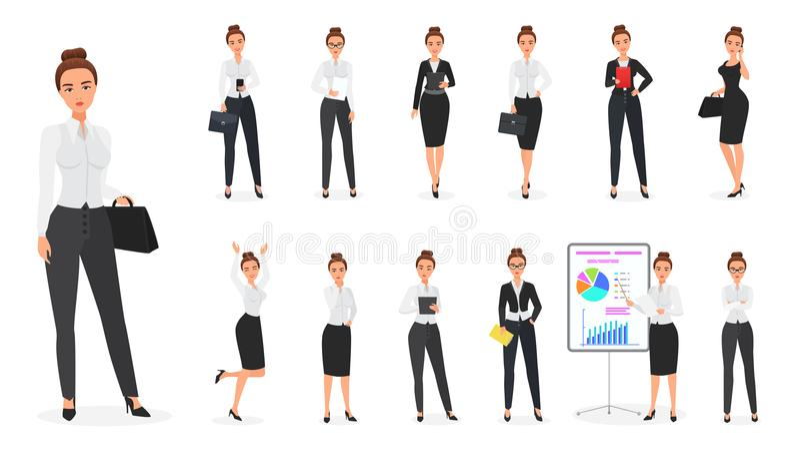 Sistema del vector del carácter de la mujer de negocios Hembra de la oficina ilustración del vector