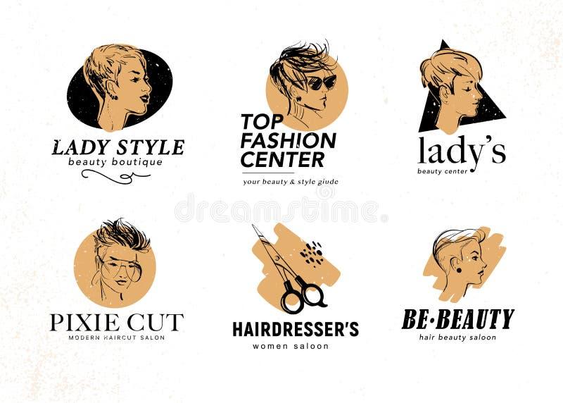 Sistema del vector del centro de la belleza y diseño del logotipo del salón del peluquero con las señoras hermosas exhaustas del  libre illustration