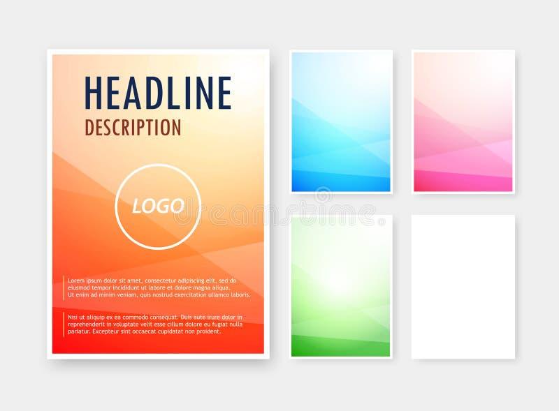 Sistema del vector colores de fondo del extracto de diversos en el formato en blanco A6 para el folleto, catálogo libre illustration