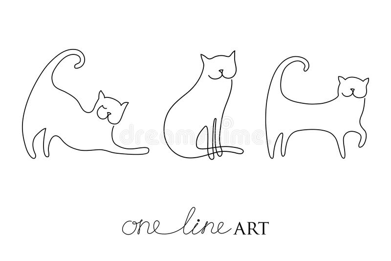 Sistema del vector con la silueta del gato en negro aislada en el fondo blanco Gatos en el minimalismo o una línea estilo del art stock de ilustración