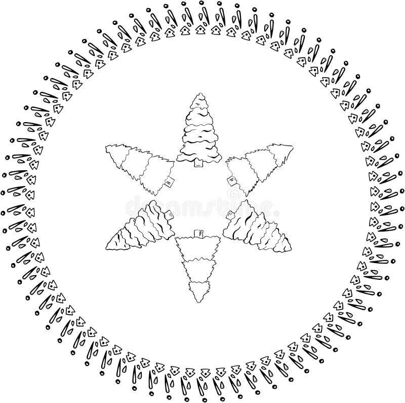 Sistema del vector de árboles de navidad en marco redondo libre illustration
