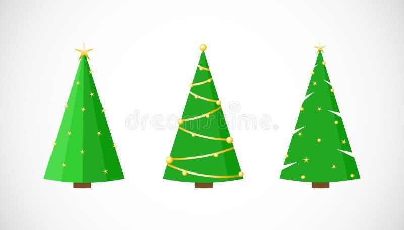 Sistema del vector de árboles de navidad festivos con las estrellas en estilo plano libre illustration