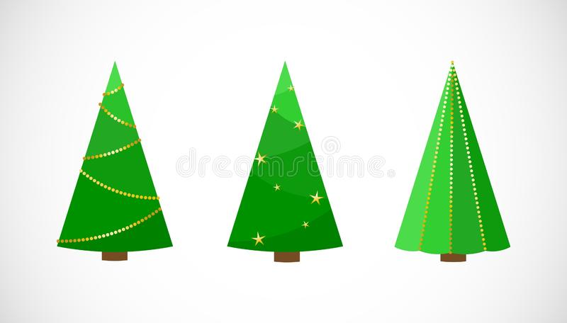 Sistema del vector de árboles de navidad festivos en estilo plano libre illustration