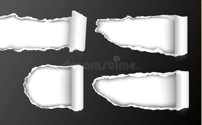 Sistema del vector de agujeros rasgados realistas en papel negro con ed encrespado stock de ilustración