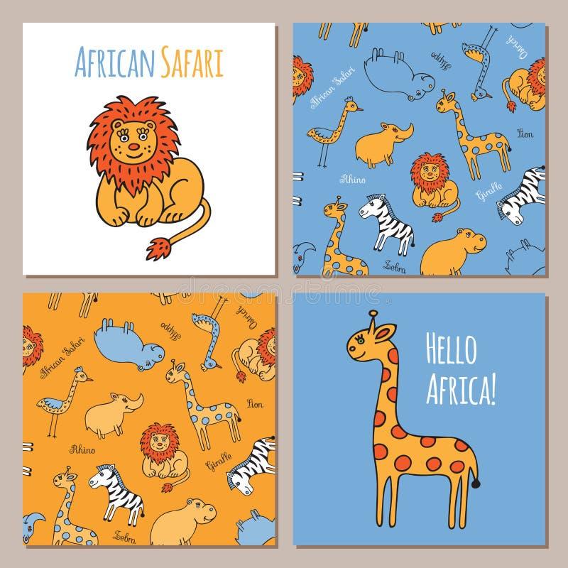 Sistema del vector de animales africanos ilustración del vector