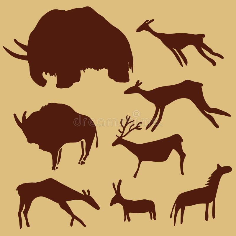 Sistema del vector de animales de la pintura de cuevas Mamut, ciervos, caballo y buey stock de ilustración