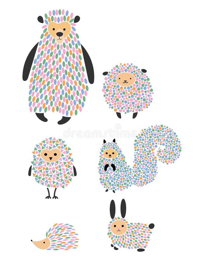 Sistema del vector de animales y de pájaros de la historieta Habitantes estilizados del bosque Colección de animales salvajes Ilu ilustración del vector