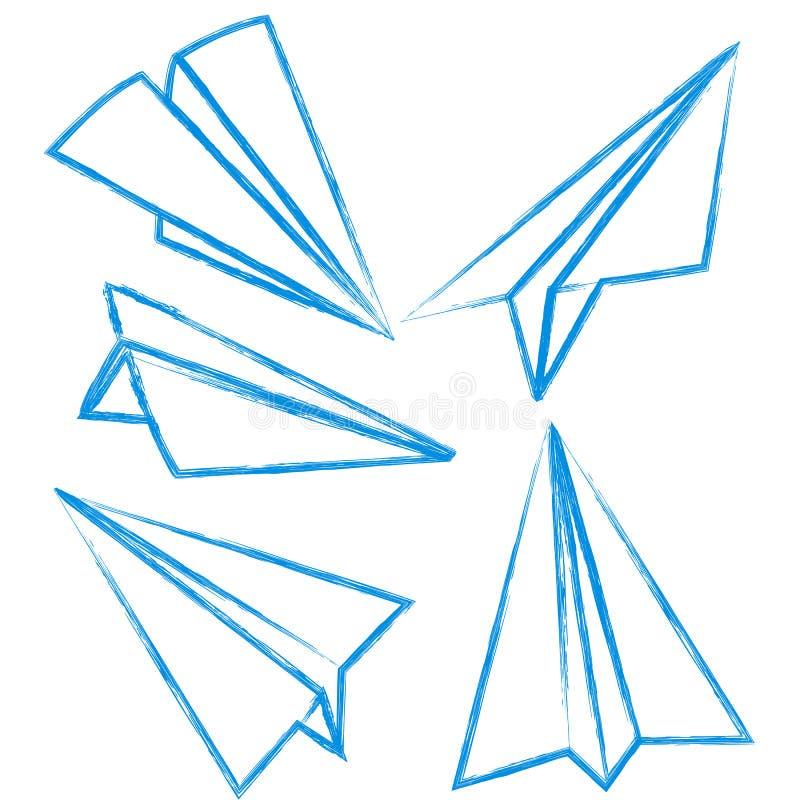 Sistema del vector de arte azul de la papiroflexia de la tiza ilustración del vector