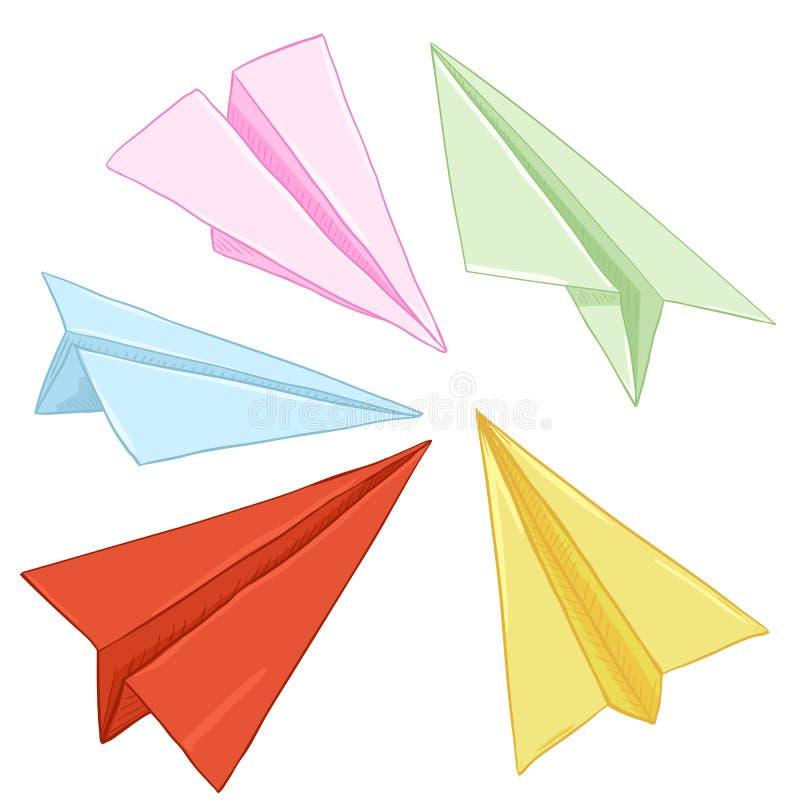 Sistema del vector de aviones de aire del papel coloreado libre illustration