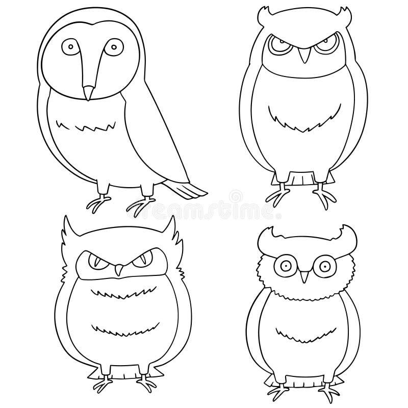 Sistema del vector de búhos ilustración del vector