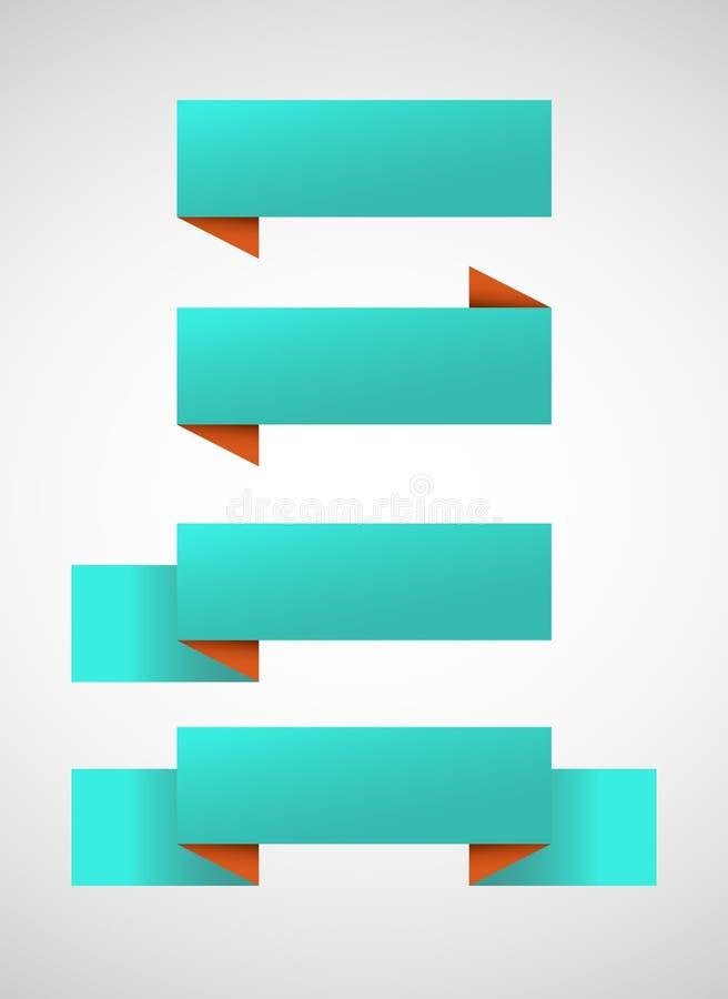 Sistema del vector de banderas azules brillantes ilustración del vector