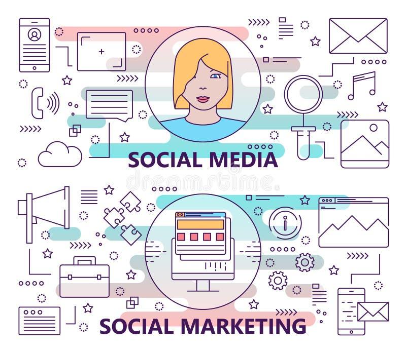 Sistema del vector de banderas con medios sociales y plantillas sociales del concepto del márketing Línea fina moderna elementos  libre illustration