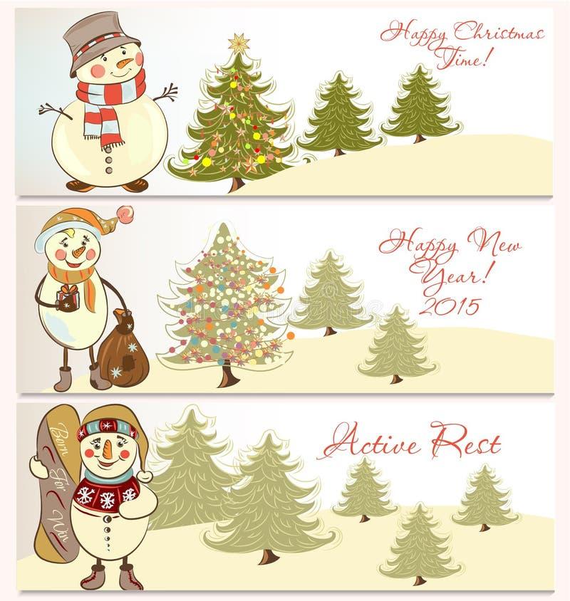 Sistema del vector de banderas de la Navidad con los muñecos de nieve stock de ilustración