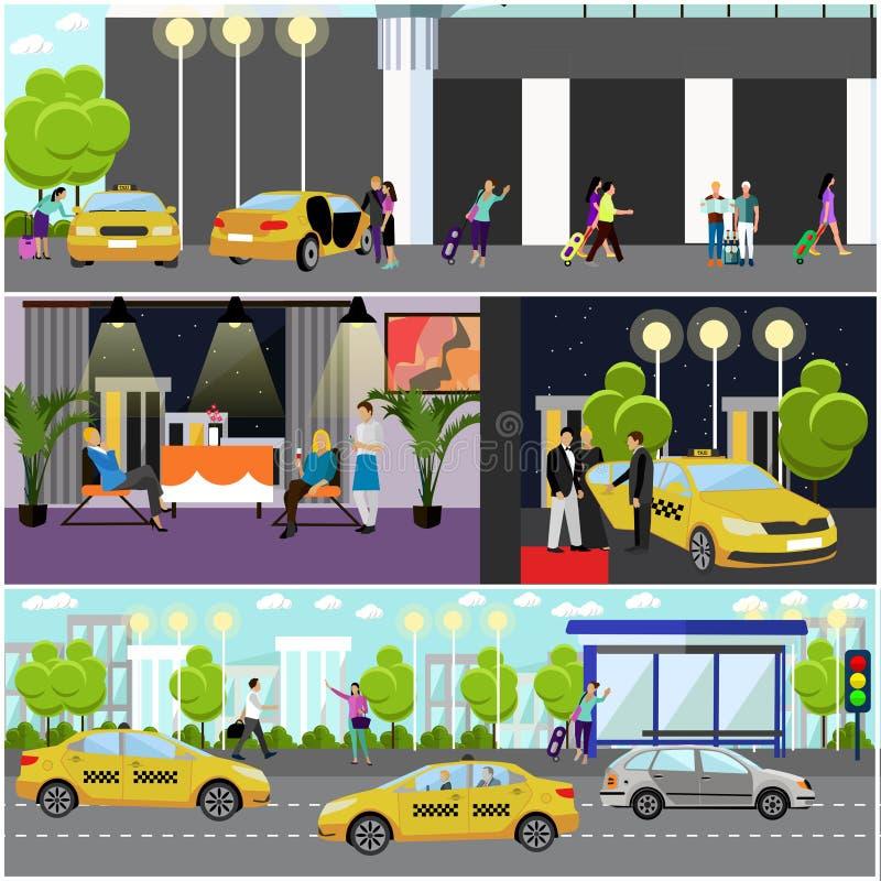 Sistema del vector de banderas del concepto de la empresa de servicios del taxi Coche de captura de la gente en una calle stock de ilustración