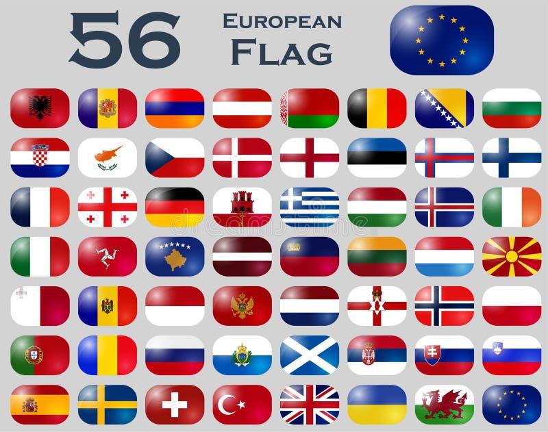 Sistema del vector de banderas europeas en forma oval ilustración del vector