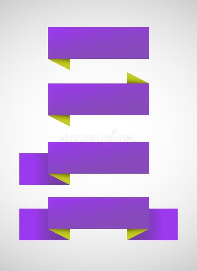 Sistema del vector de banderas púrpuras brillantes stock de ilustración